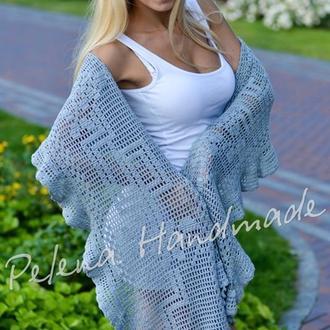 Голубая шаль - филейное вязание