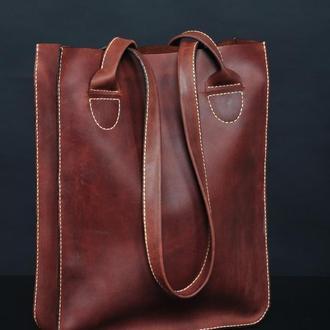 Шоппер кожаный коричневый