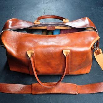 Большая кожаная дорожная сумка
