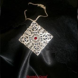 Серебряное колье готика крест кулон серебро ожерелье кристалл магия бохо Dzvinka Guzul тренд подарок