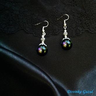 Cеребряные сережки жемчужные cерьги серебро ювелирное украшение жемчуг dzvinka guzul тренд подарок