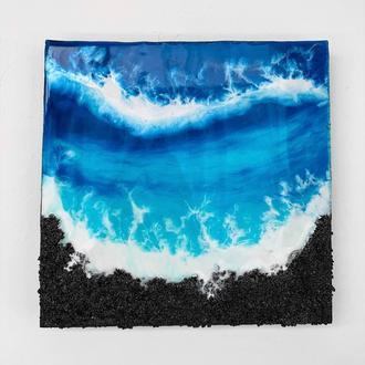 Интерьерная картина эпоксидной смолой море Resin art подарок реалистичное море абстракция