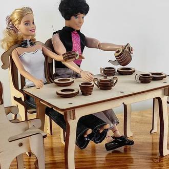 Обеденный стол с стульями для кукол. Мебель для кукол Барби. Мебель кукольный домик