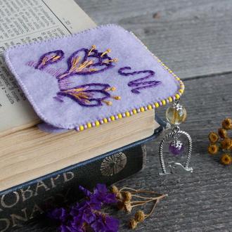 Красивая книжная закладка уголок Фиолетовая именная закладка с аметистом и цитрином Именной подарок