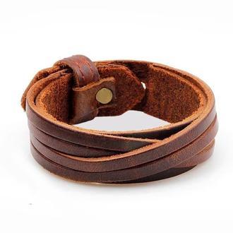 Винтажный кожаный браслет унисекс ручной работы