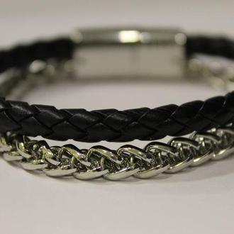 Кожаный браслет с цепью нержавеющей стали