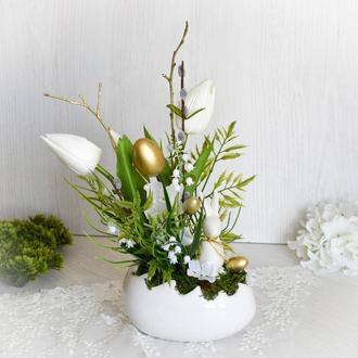 """Пасхальная композиция """"Конвалії та тюльпани"""". Пасхальный декор. Великодня композиція."""