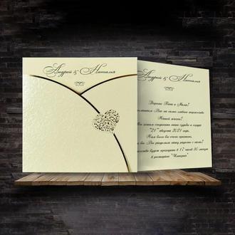 Красивые приглашения с золотым тиснением (арт. 5624)