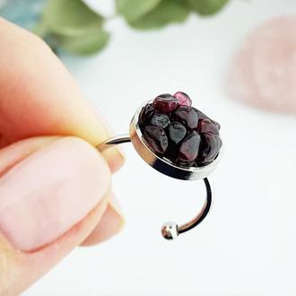 Кольцо минимализм с кристаллами граната Подарок девушке гранатовое кольцо (модель № 643) JK jewelry
