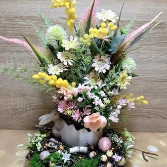 Весенняя пасхальная композиция весенний пасхальный венок декор весняна великодня композиція
