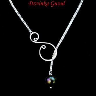 Лариат серебряный кулон ожерелье серебро сотуар жемчуг колье жемчужное dzvinka guzul тренд подарок