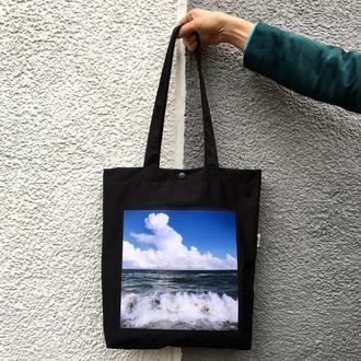 Черный шоппер с фото принтом Море, эко-сумка с карманом, сумка для покупок, арт авоська, торба