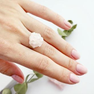 Кольцо с розовым кварцем Кольцо друза Розовый кварц кольцо Подарок девушке (модель № 647) JK jewelry