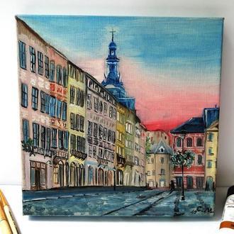 Картина маслом Львов, Городской пейзаж, Красивый город Львов, Львов на холсте