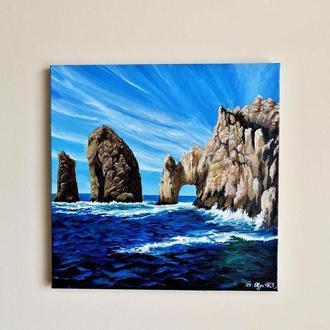 Картина маслом Кабо сан Лукас, Прекрасный морской пейзаж, Картина со скалой, Скала картина маслом