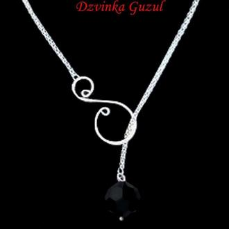 Серебряный кулон лариат серебро кулон Пандора ожерелье кристалл Сваровски dzvinka guzul тренд сотуар