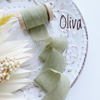 Батистовая лента для свадебного букета, оливкового цвета