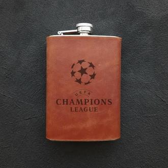 Фляга, фляги с гравировкой, фляга в кожаном чехле, Лига чемпионов