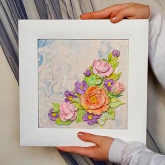 Объемная рельефная картина букет в деревянной раме, подарок девушке