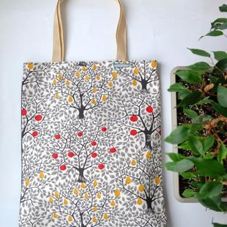 Эко сумка c деревьями, тканевая сумка пакет, эко торба, шоппер
