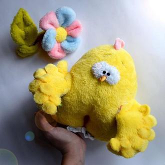 Мягкая игрушка Цыпленок с цветочком