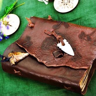 Оригинальный кожаный блокнот, Необычный блокнот из кожи, Блокнот мужской, этнический блокнот