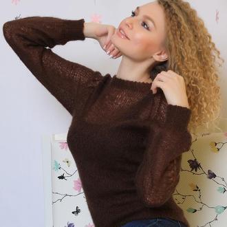 Ажурный свитер из итальянского мохера ручной работы