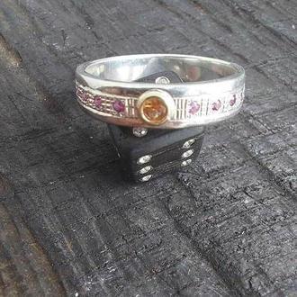 Серебряное кольцо с сапфиром и рубином