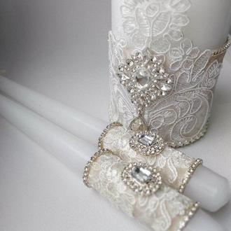 Свадебные свечи цвет айвори, бархатные