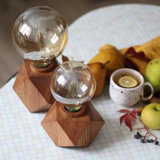 Светильник из дерева дуба. Лампа Эдисона. Кубический ночной светильник. Корпоративный подарок