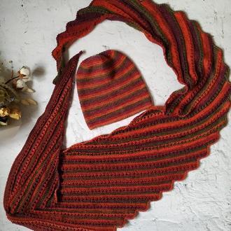Разноцветная шапка и шарф бактус