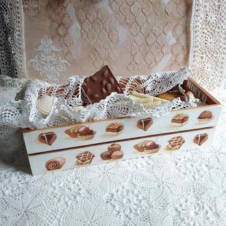 Ящик-короб Сладости, декупаж