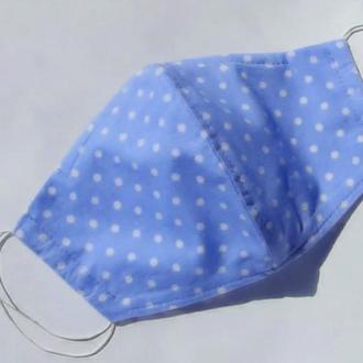 Маска из хлопка с фиксатором и кармашком для фильтра в горошек голубая