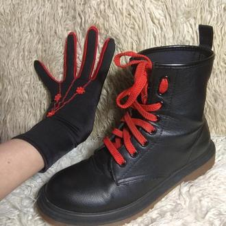 Перчатки  черные.перчатки красные