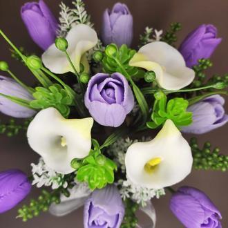 Букет из мыла с тюльпанами и каллами