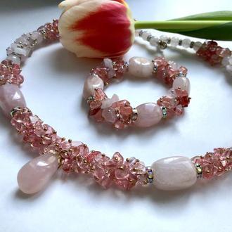 Набор украшений из натуральных камней розовый