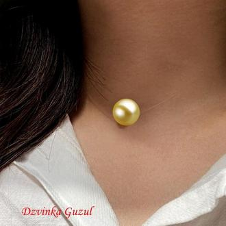 Кулон Невидимка перлина на леске перли модна прикраса колье корал лава dzvinka guzul подарунок люкс