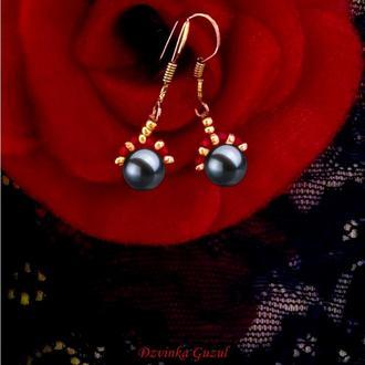 Серьги жемчуг серебро украшение серебряные сережки жемчужные dzvinka guzul тренд модный подарок люкс
