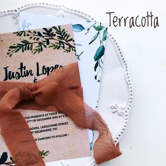 Батистовая лента для свадебного букета, терракотового цвета