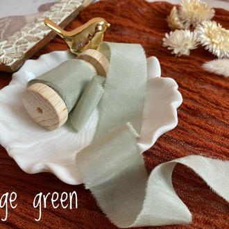 Батистовая лента для свадебного букета, шалфейного цвета(серо-зеленого цвета)