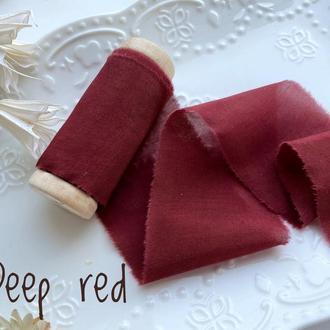Батистовая лента для свадебного букета, глубоко - красного цвета (почти бордового цвета)