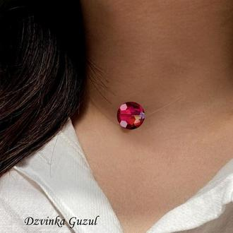 Бусина на леске кулон невидимка кристали сваровскі модне кольє рубін dzvinka guzul подарунок люкс