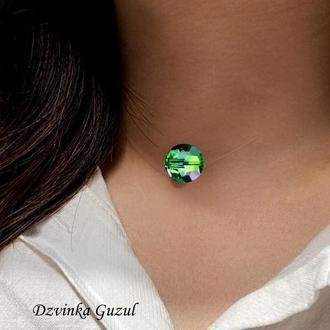 Бусина на леске Кулон невидимка украшение ожерелье кристаллы Сваровски колье dzvinka guzul подарок