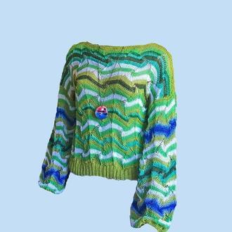 Женская одежда.Джемпер летний миссони оверсайз из 100% хлопка.Деревяный кулон  на шнурк