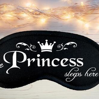 "Маска для сна (на глаза) с принтом ""The Princess sleeps here"""