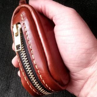 Кожаная коричневая ключница. Органайзер для ключей на молнии.