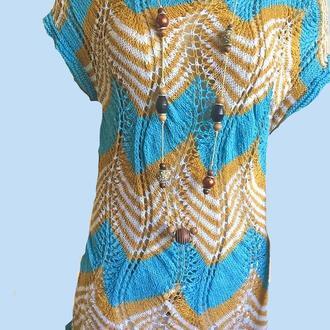 Женская одежда. Стильная свободная туника- миссони с бусами   100% хлопок