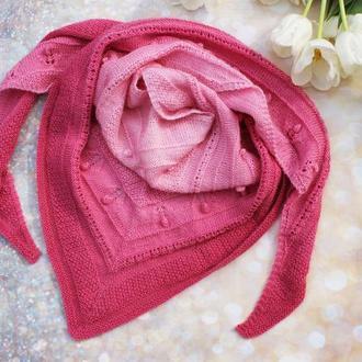 Шейный платок бактус, вязаный шарф ручной работы с переходом цвета омбре треугольной формы