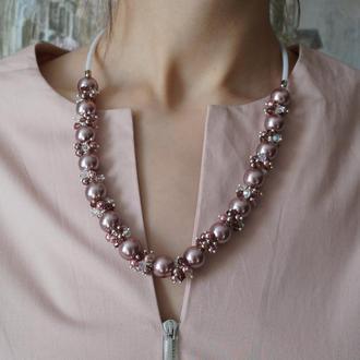 """Набор: украшение из натурального камня """"Nautilus"""" на шею и браслет"""