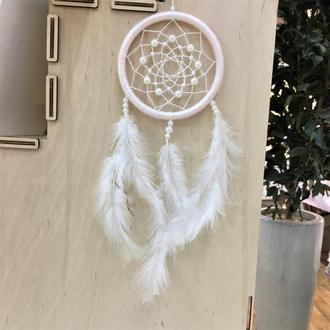 Белый ловец снов, ловец снов, маленький ловец снов, декор, оберег